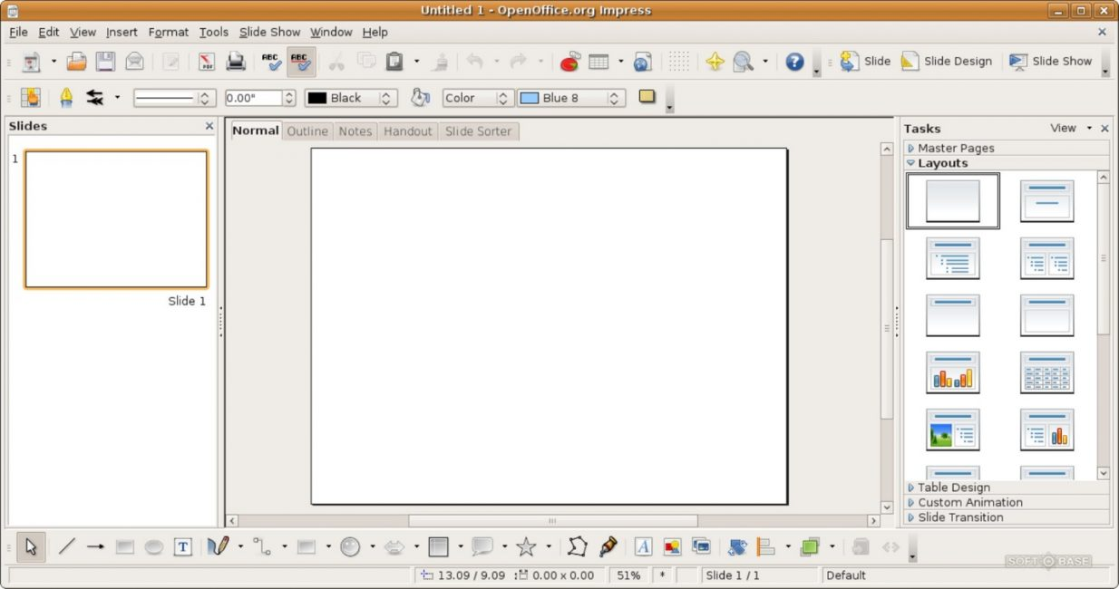 Рабочее окно программы Impress