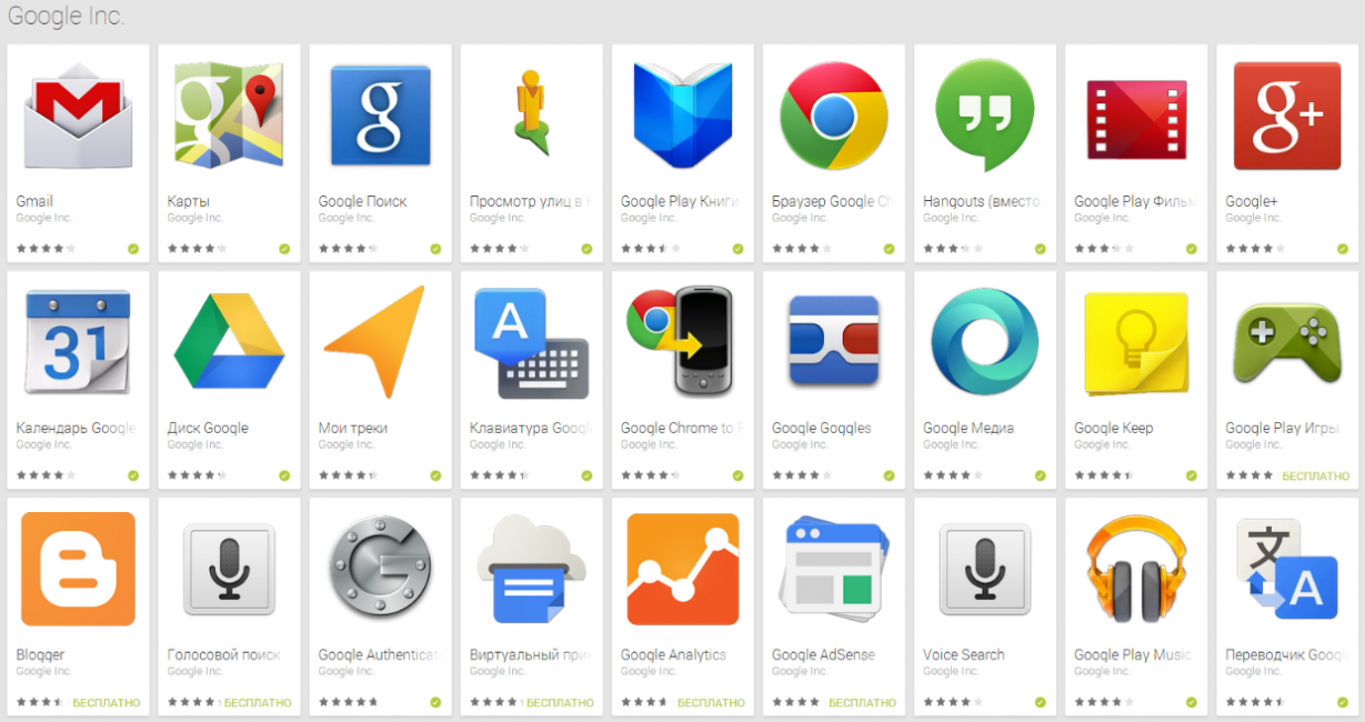 Пример некоторых сервисов от Google