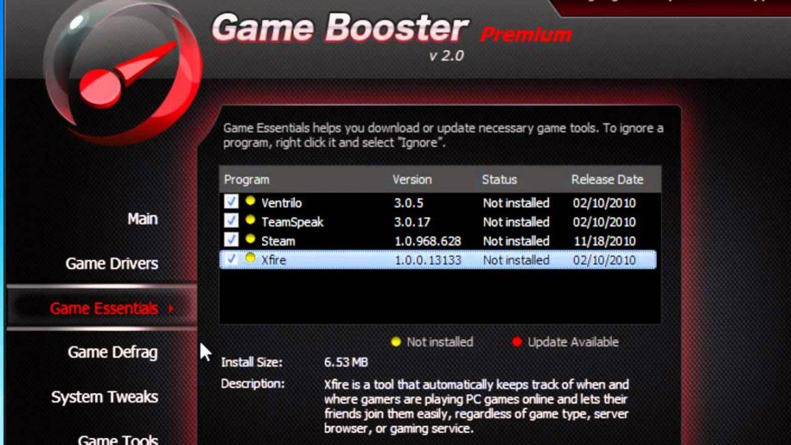 Окно программы Game Booster