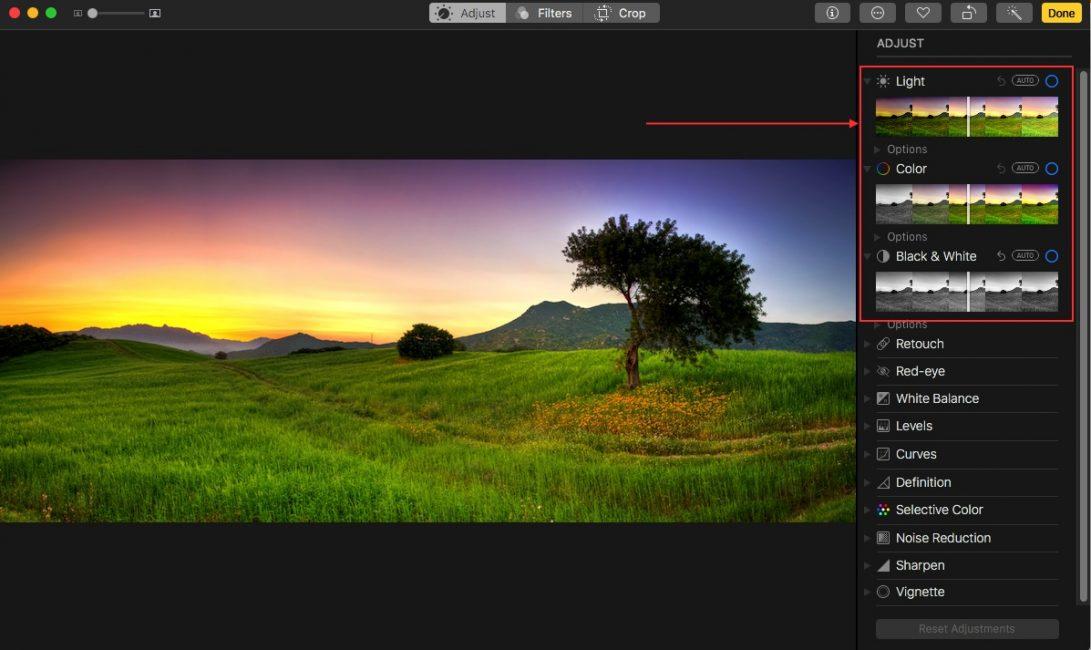 Новые графические фильтры в Photos