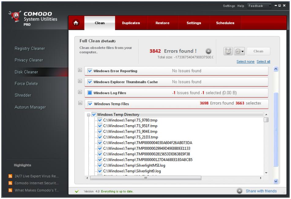 Окно программы Comodo System Utilites