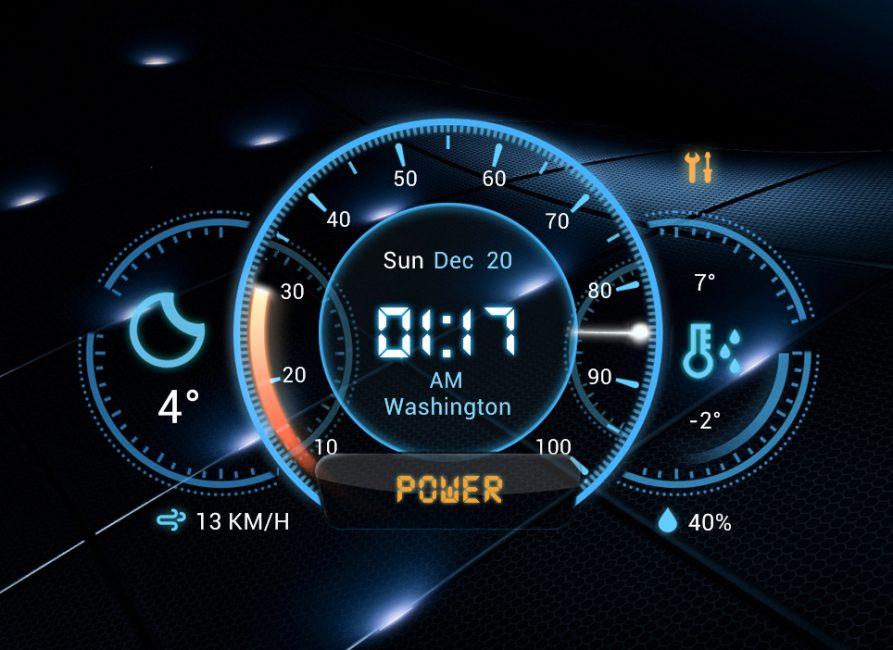 Системная панель Futuristic Car Dashboard