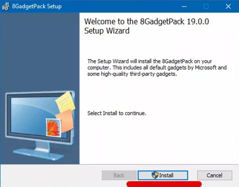 Окно установщика 8GadgetPack