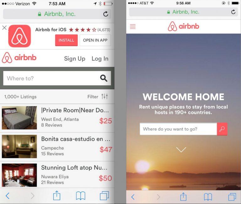 Окно приложения Airbnb