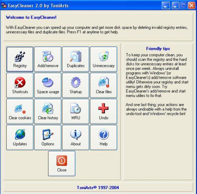 Рабочее окно EasyCleaner
