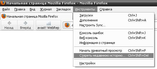 Очистка истории поиска в Mozilla Firefox