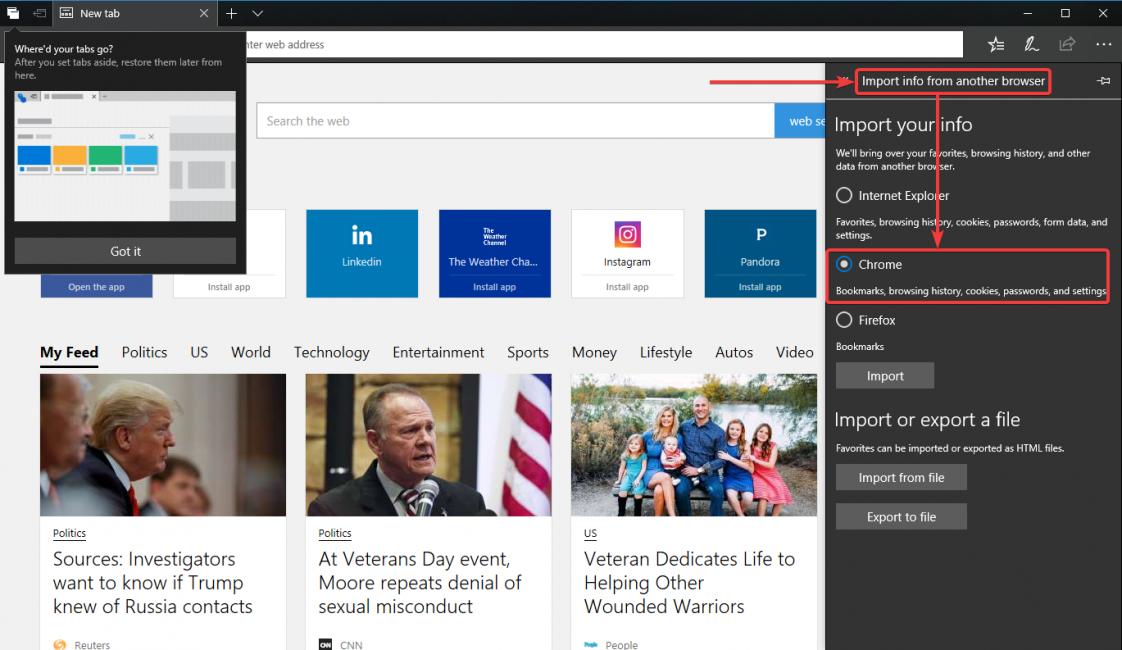Импорт данных с браузеров Chrome и Firefox