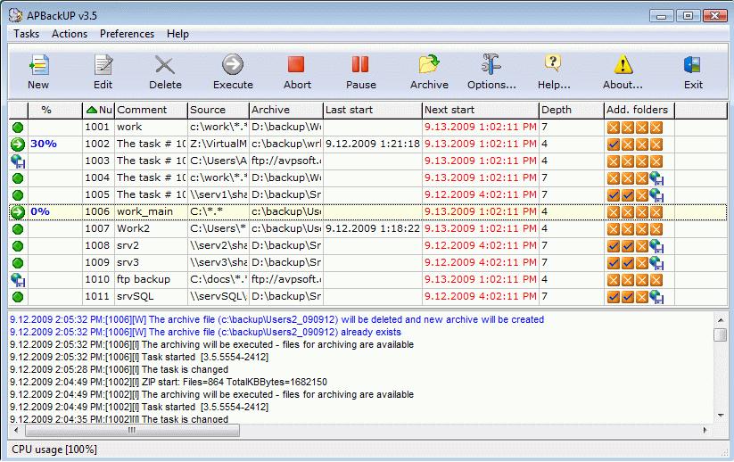 окно программы APBackup