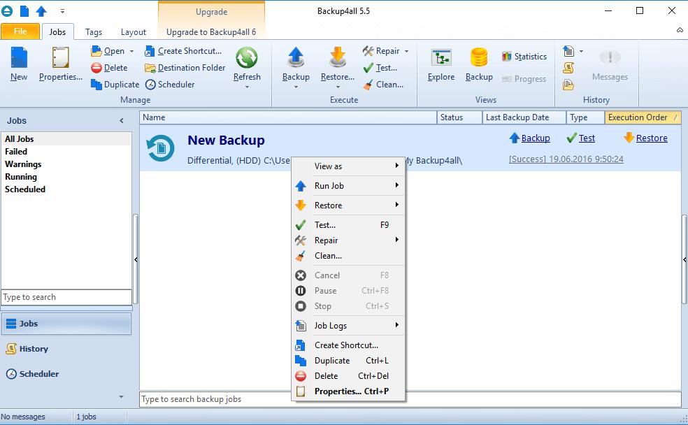 Окно программы Backup4all Standard