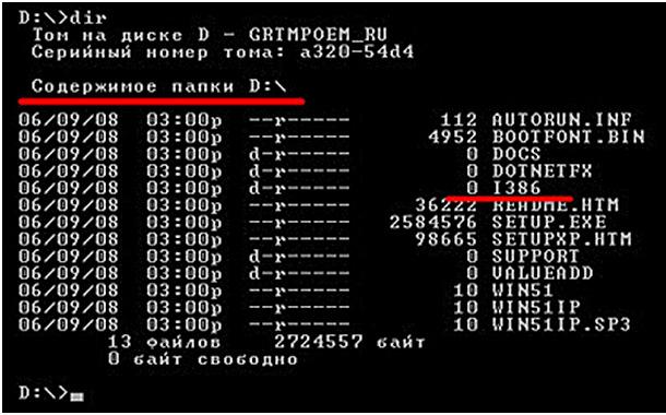 Ввод команды I386