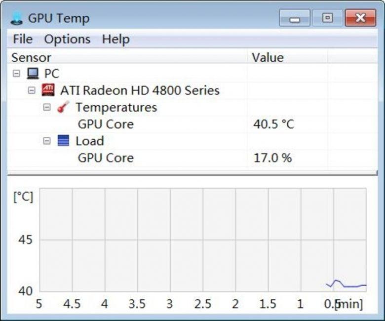 Рабочее окно программы GPU Temp
