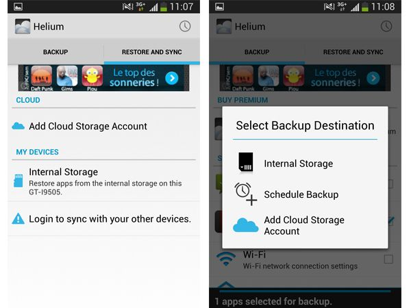 рограмма Helium App Sync and Backup