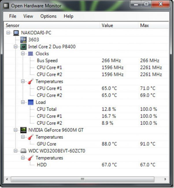 Рабочее окно программы Open Hardware Monitor