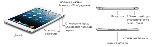 Расположение кнопок на iPad mini