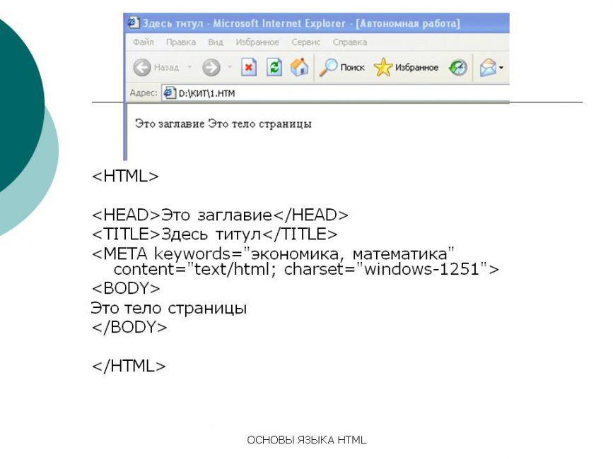 Шапка страницы сайта