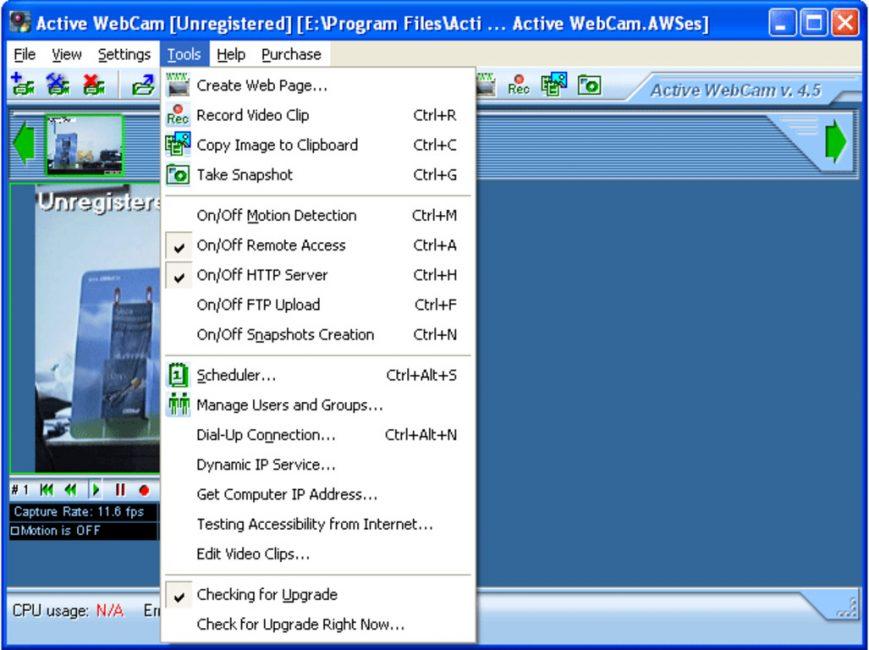 Внешний вид программы Active WebCam