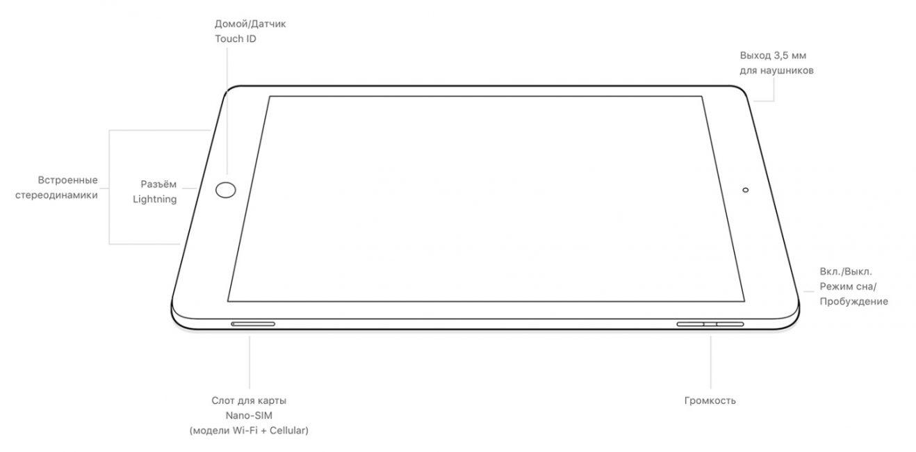 Расположение кнопок на iPad