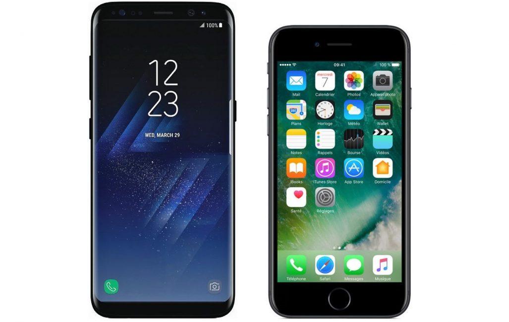 Внешний вид смартфонов Samsung Galaxy S8 и Apple iPhone 7