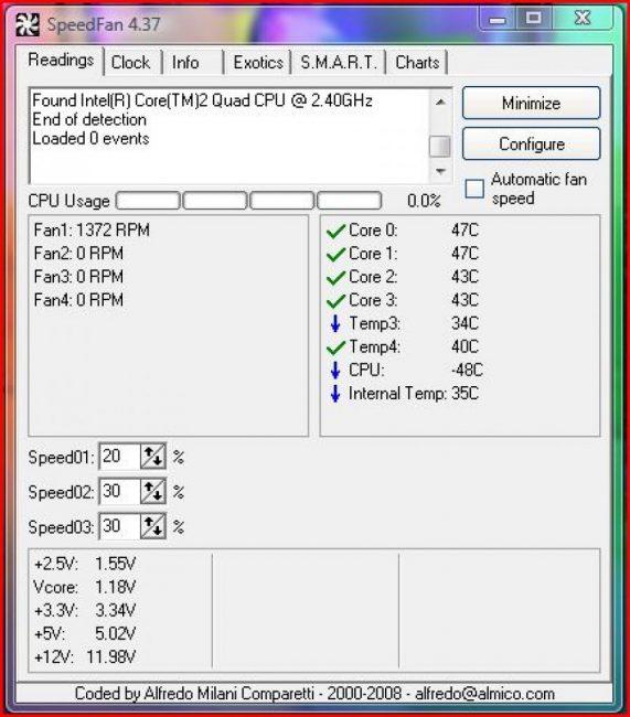 Рабочее окно программы SpeedFan
