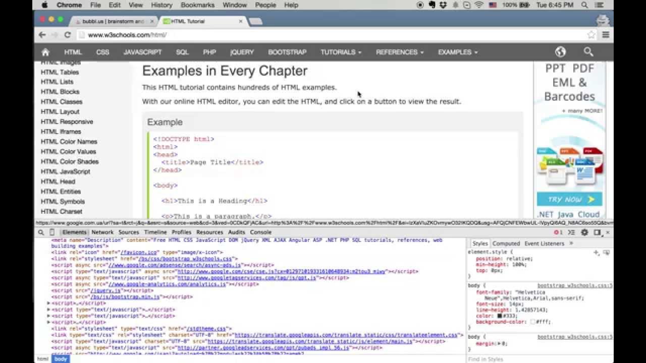 Режим разработчика в браузере по активным элементам