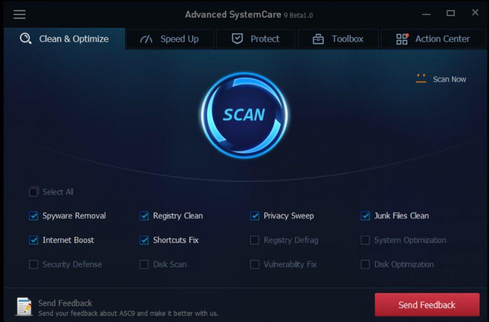 Рабочее окно программы Advanced SystemCare