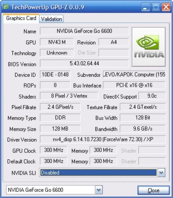 Рабочее окно программы GPU-Z