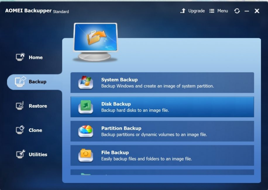 Окно программы AOMEI Backupper
