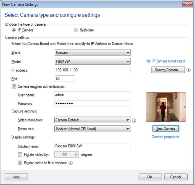 Рабочее окно программы IP Camera Viewer