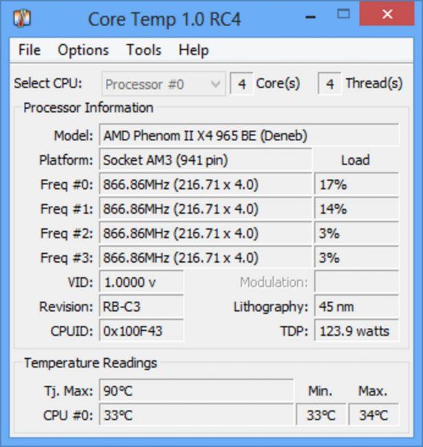 Рабочее окно программы Core Temp
