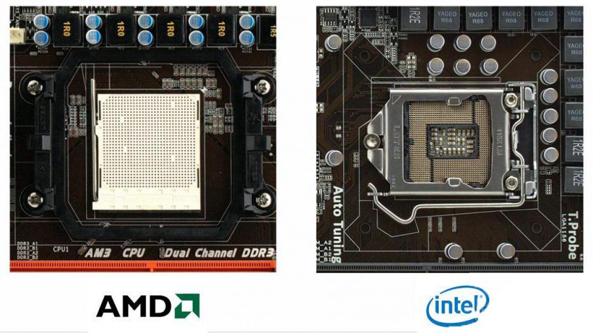 Внешний вид сокетов AMD и Intel