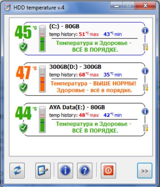 Рабочее окно программы HDD Temperature