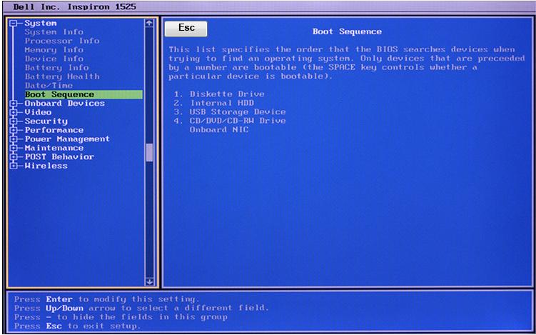 Внешний вид DELL BIOS
