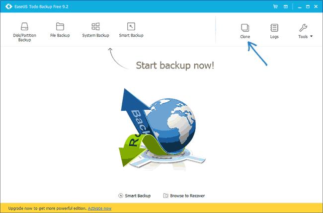Кнопка для переноса системы в Easeus ToDo Backup Free