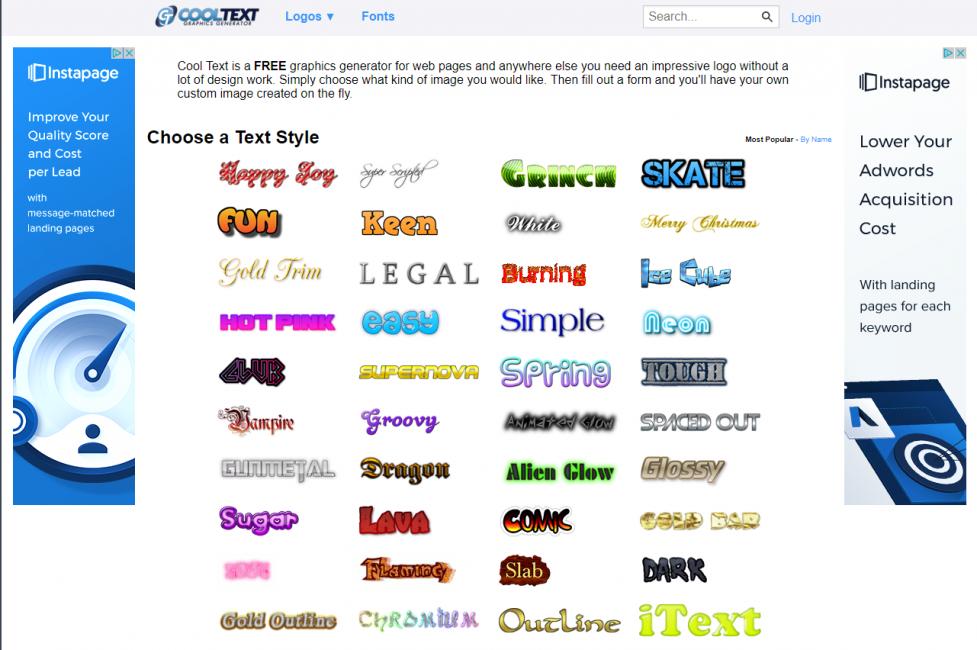 Главная страница сайта Cooltext.com