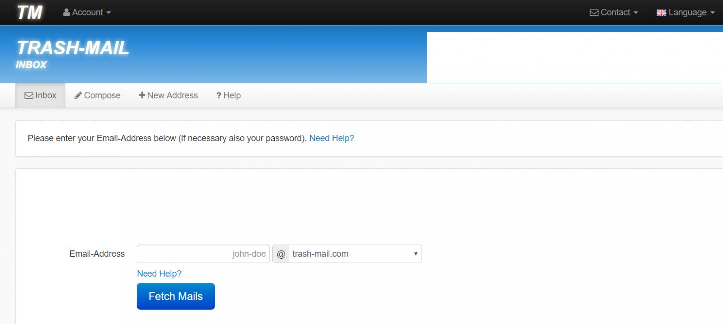 Интерфейс сайта временных электронных ящиковTrash mail