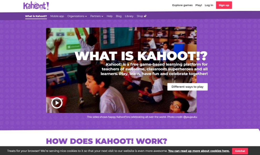 Главная страница сайта Kahoot!