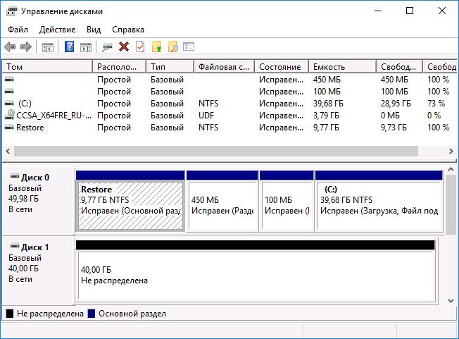 Установленная ОС для переноса на SSD