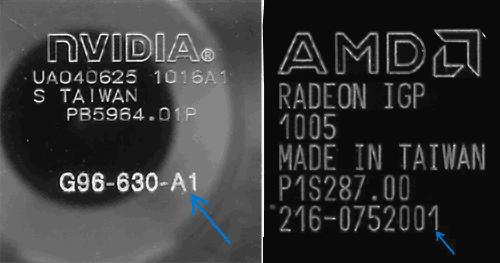 Маркировка на графическом чипе