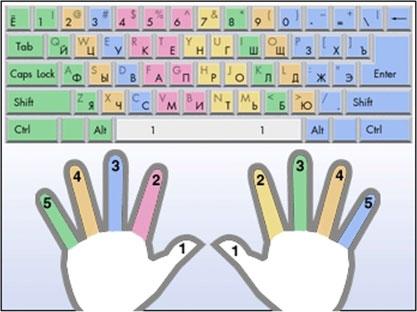 Схема расположения пальцев на клавиатуре