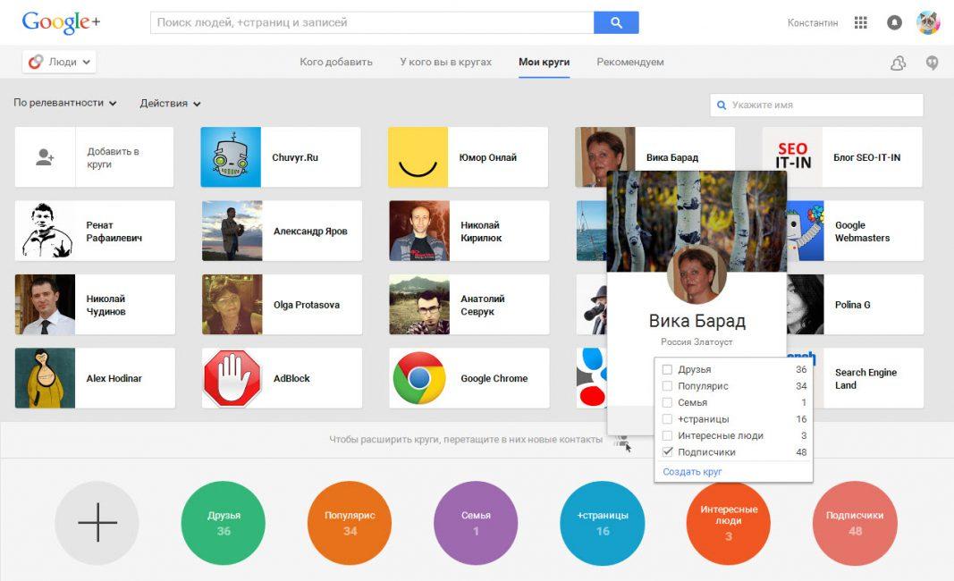 Система Google plus