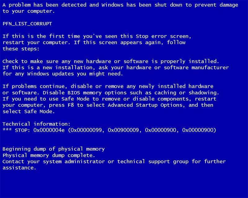 Так выглядит синий экран смерти
