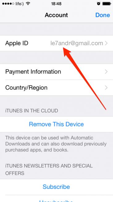 Внешний вид Apple-идентификатора