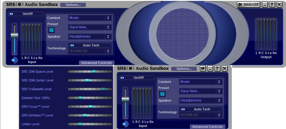 Внешний вид SRS.Audio.Sandbox