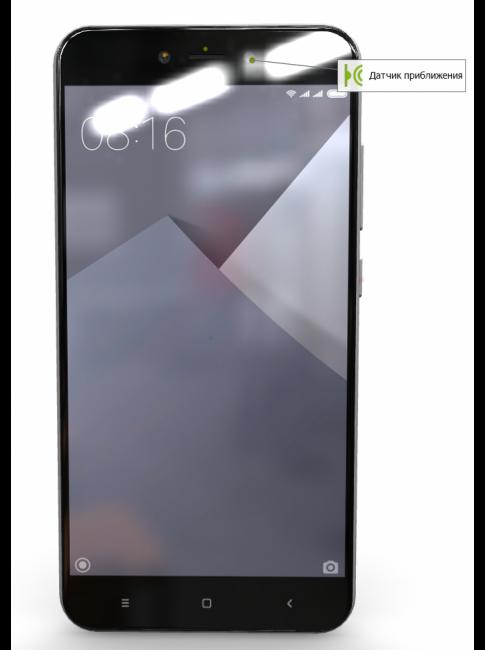 Вид на переднюю панель телефона