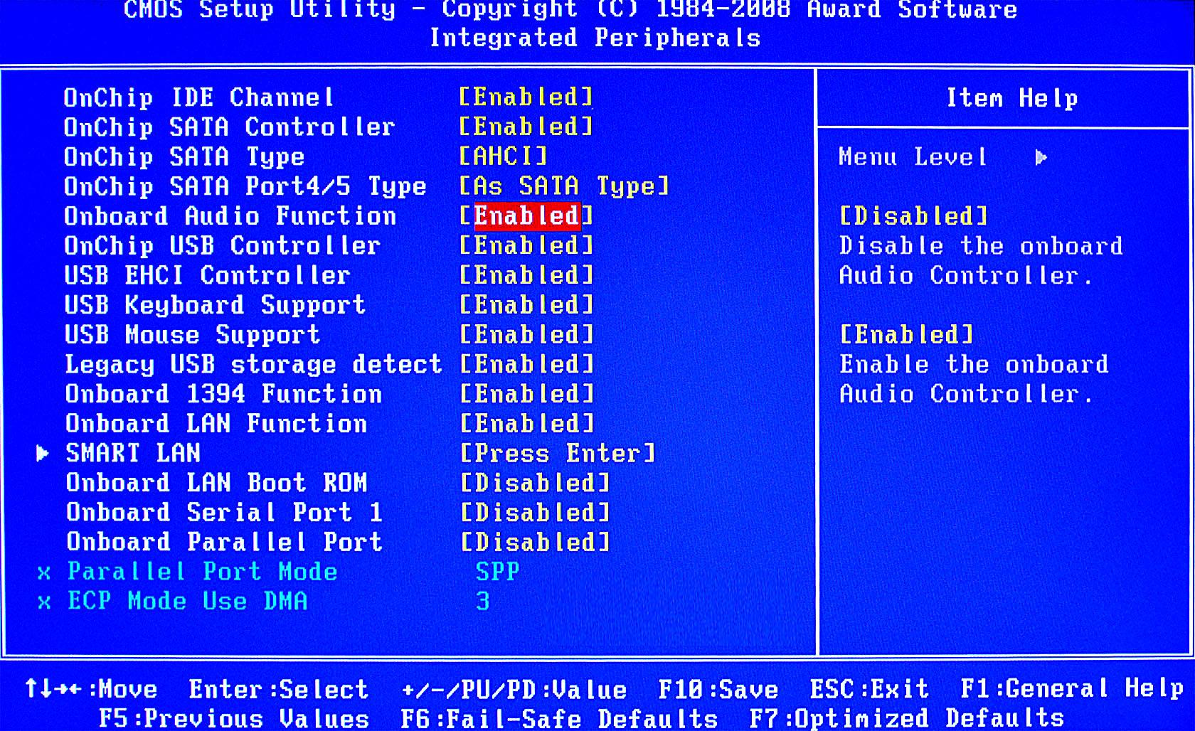 Включение звука в BIOS