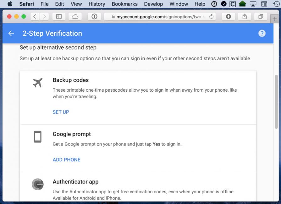 Настройки верификации с помощью Google Prompt