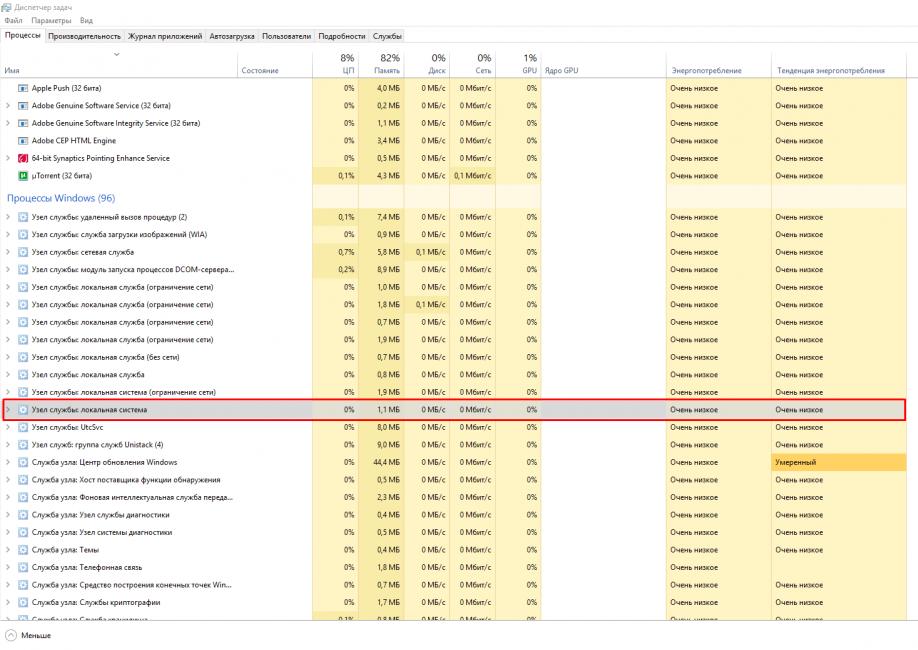 узел службы локальная система грузит диск windows