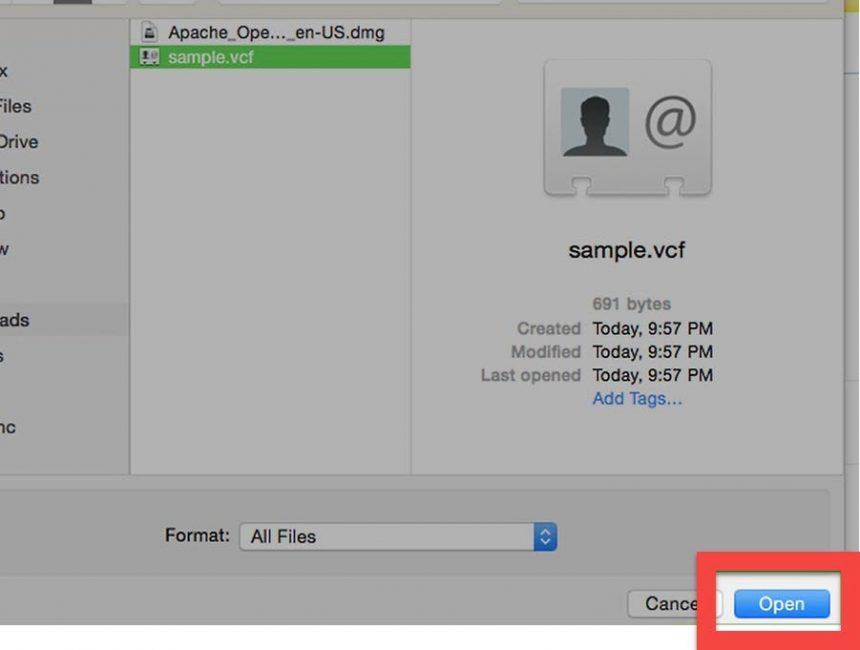как открыть vcf файл на компьютере