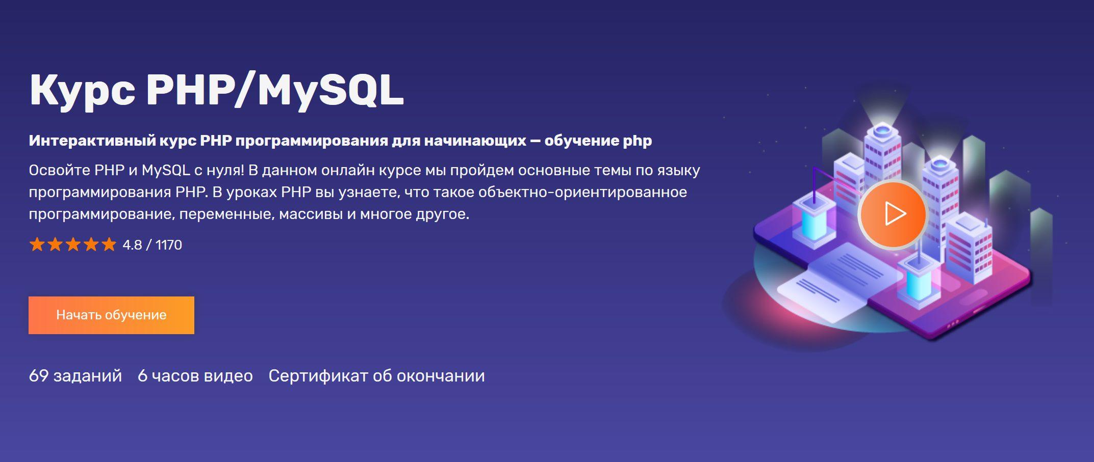 Курс PHPMySQL. Уроки PHPMySQL программирования веб-сайтов для начинающих с нуля — Обучение PHP онлайн с интерактивными уроками на FructCode