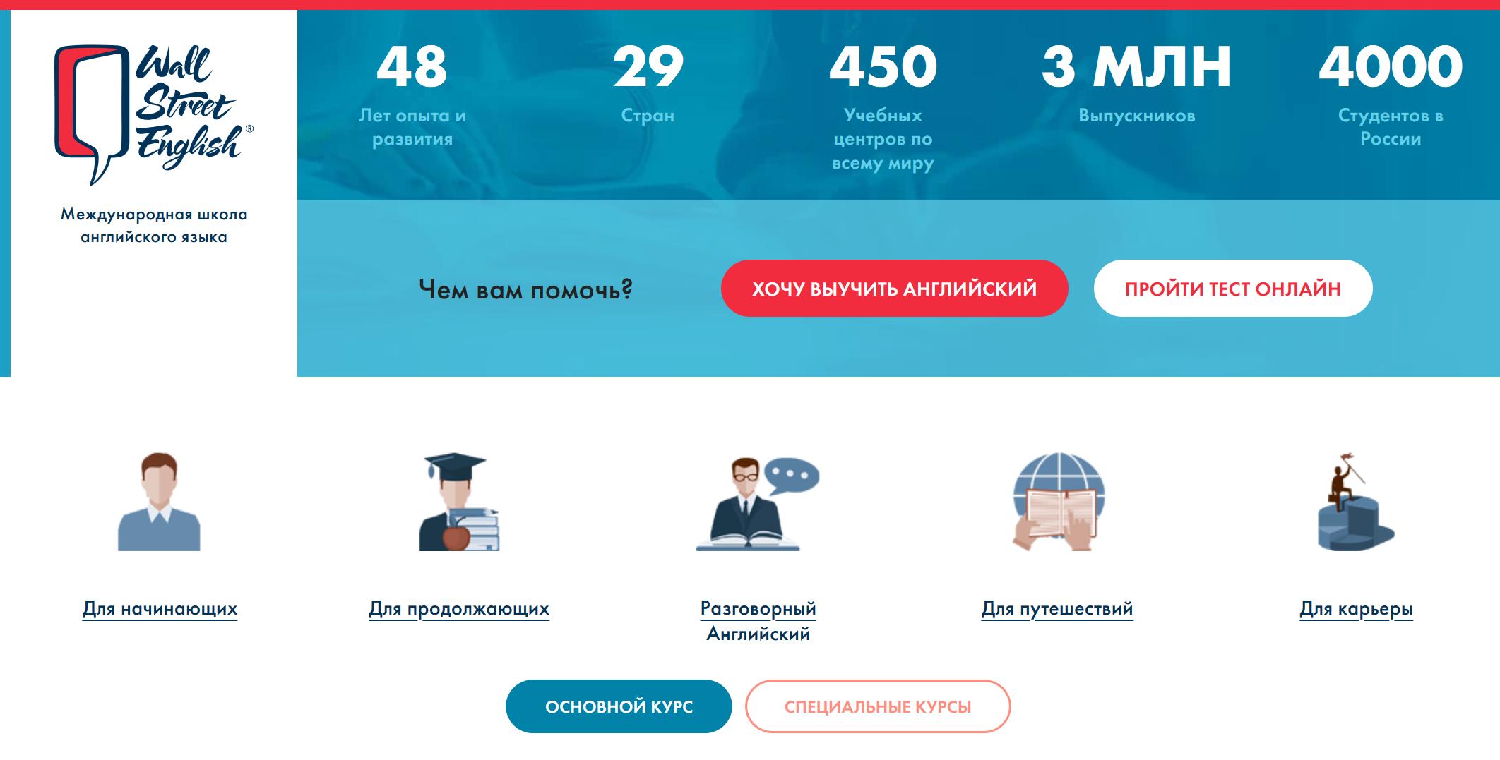 Школа английского языка в Москве Wall Street English